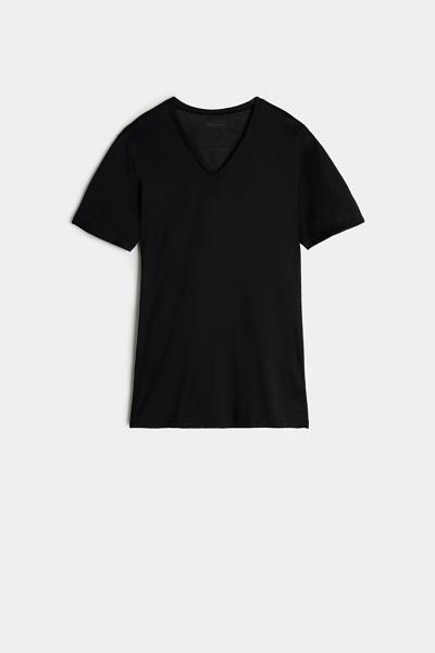 Lisle V-Neck Short-Sleeved Top