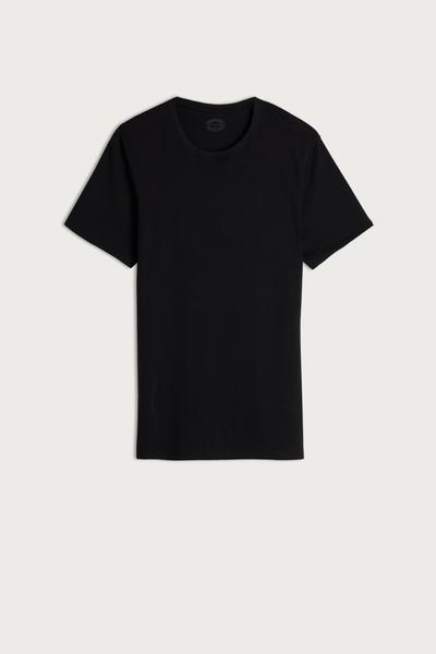Short Sleeve Round Neck T Shirt in Supima® Cotton