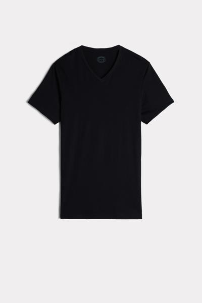 T-Shirt à Manches Courtes et Col en V en Coton Supima®
