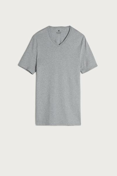 Short Sleeve V-Neck Warm-Handle Cotton Top