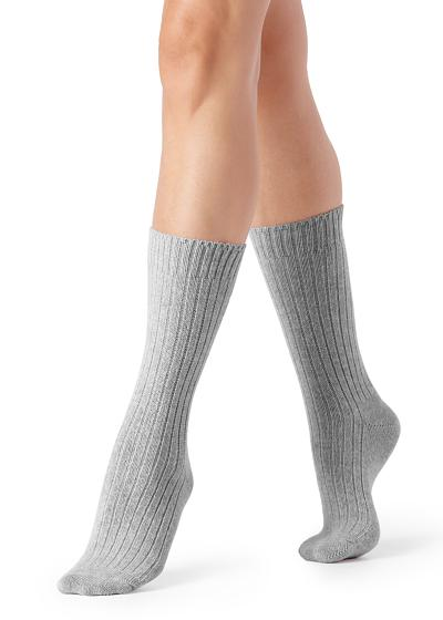 Short Ribbed Socks with Wool and Cashmere