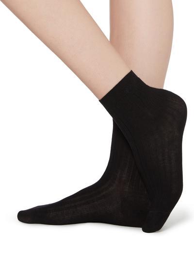 Kurze gerippte Socken mit Baumwolle und Kaschmir