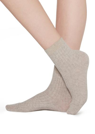 Short Ribbed Socks with Cotton and Cashmere