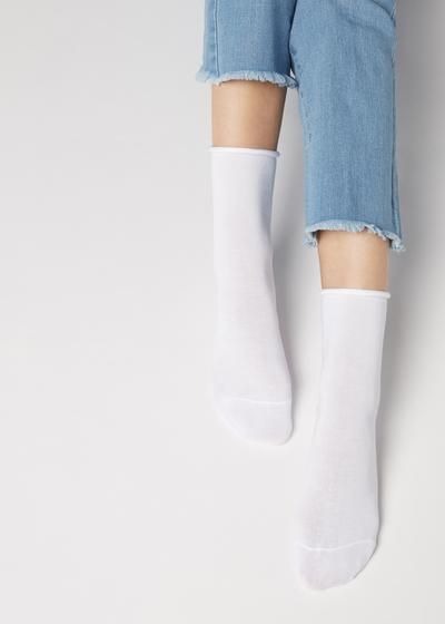 Short Cotton Socks with Comfort Cut Cuffs