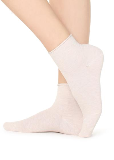 Extra Short Flat-Knit Bandless Cotton Socks