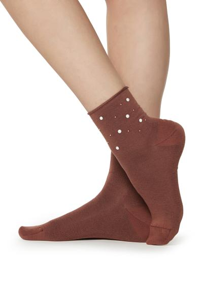 Ankle socks with appliqué pearl details