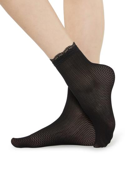 Socks with geometric pattern and lace detail