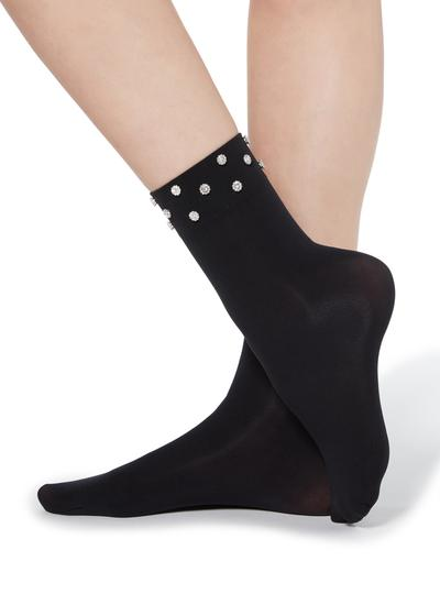 Fancy socks with appliqué rhinestone details