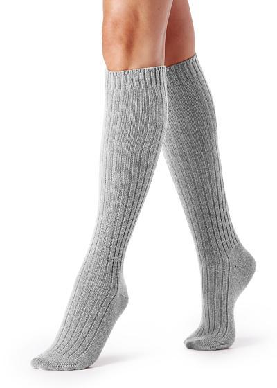 Lange Socken in Rippe aus Wolle und Kaschmir