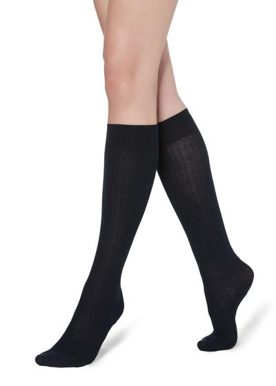 Long Ribbed Socks with Cotton and Cashmere