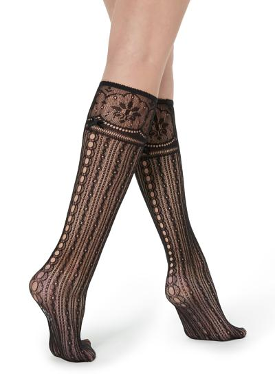 Fancy knee-highs with fishnet geometric pattern