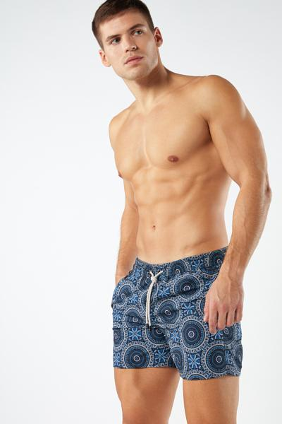 Paisley Print Mid-Length Swim Shorts