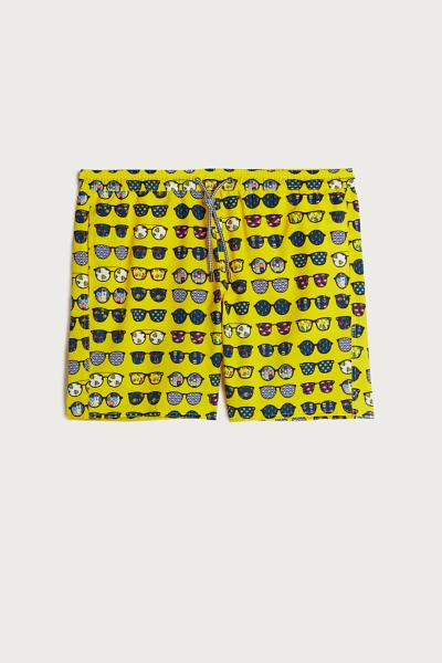 Glasses Print Mid-Length Swim Shorts
