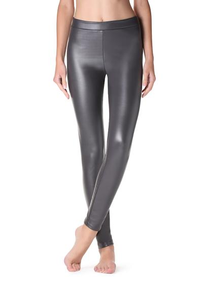 Ultra thermal leather-effect leggings