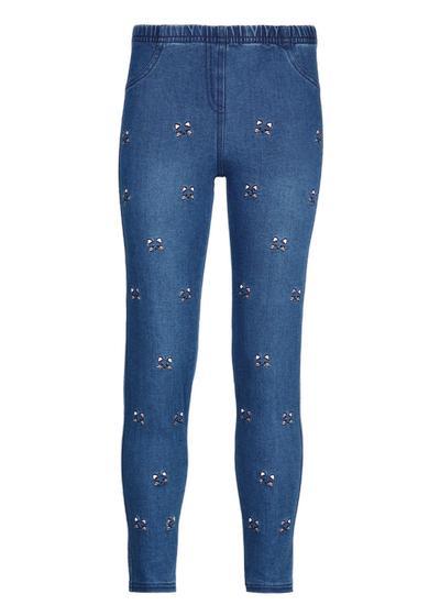 Leggings da bambina in jeans motivo gatti all-over