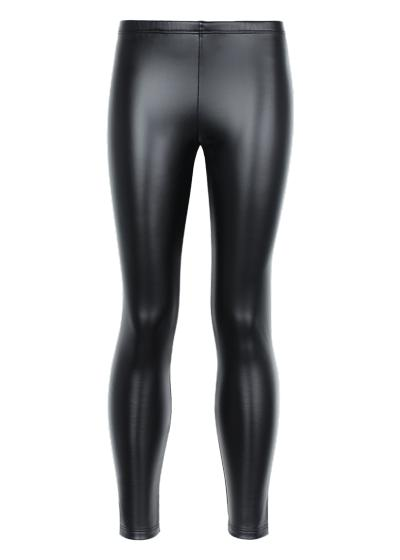 Girls leather-effect leggings