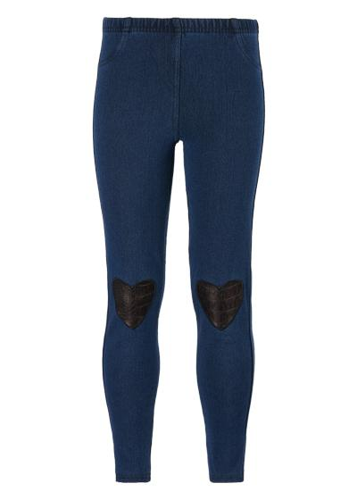 Girls' Thermal Denim Leggings with Heart Patches