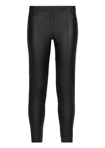 Girls' Leather-Effect Denim Leggings