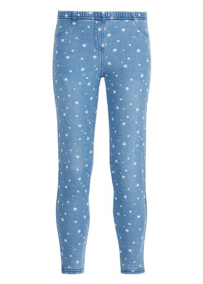 Star print denim jeggings