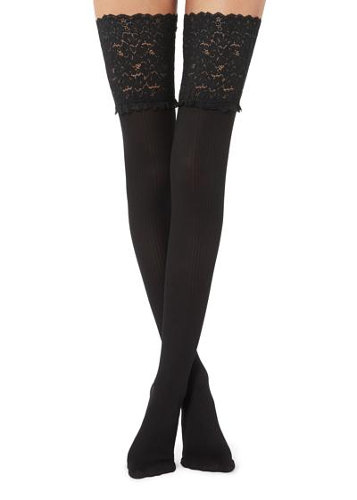 Lace Top Ribbed Hold-ups