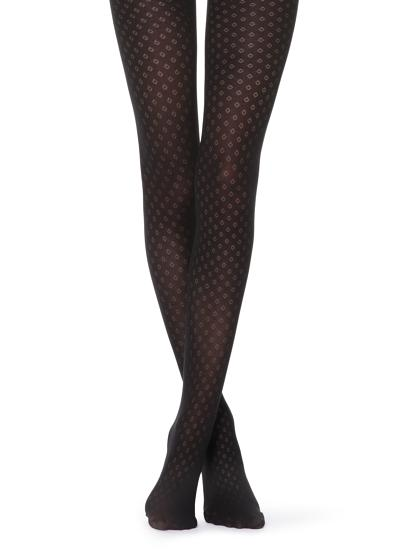 Micro diamond-patterned tights