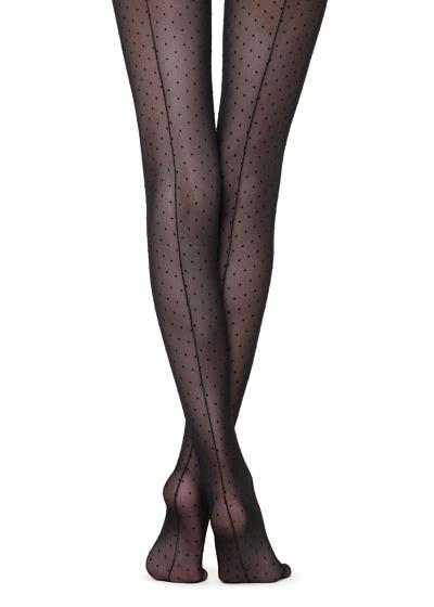 Flocked micro polka dots tights