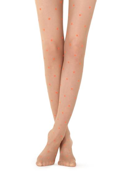 Fluorescent polka dot tights