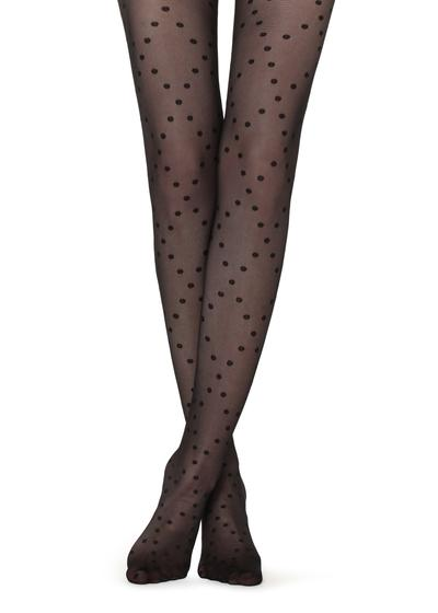 Polka dots and diamond patterned tights