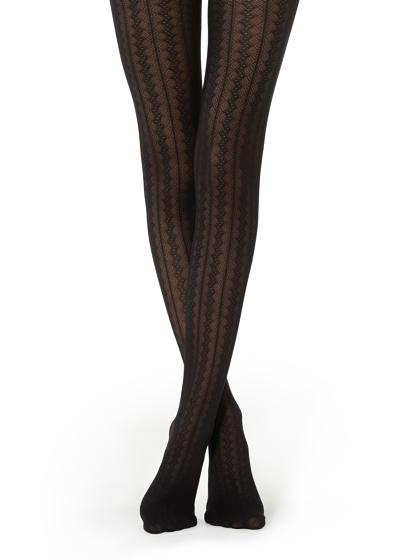 Tights With Vertical Geometric Pattern