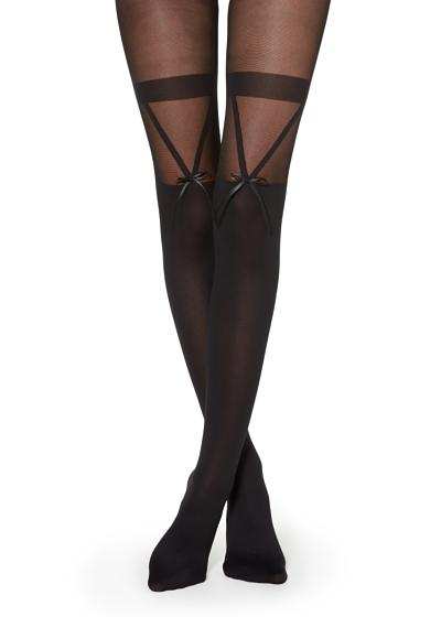 Over-the-knee Effect Tights with Bow