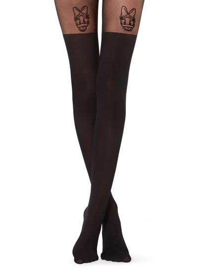 Flock-printed Disney© Over-the-knee Effect Tights