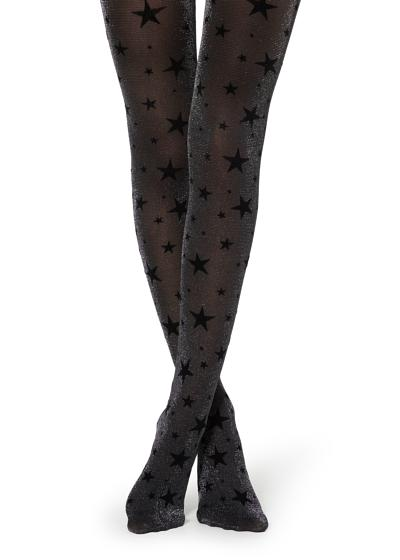Flocked Tights with Glittery Star Pattern