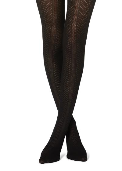 Vertical Motif Cotton Tights