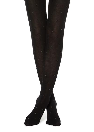 Cashmere Tights with Micro Polka Dots