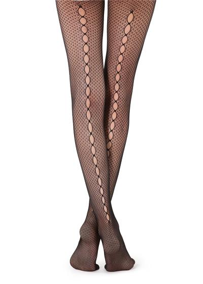 Mesh Tights with Openwork Back Line