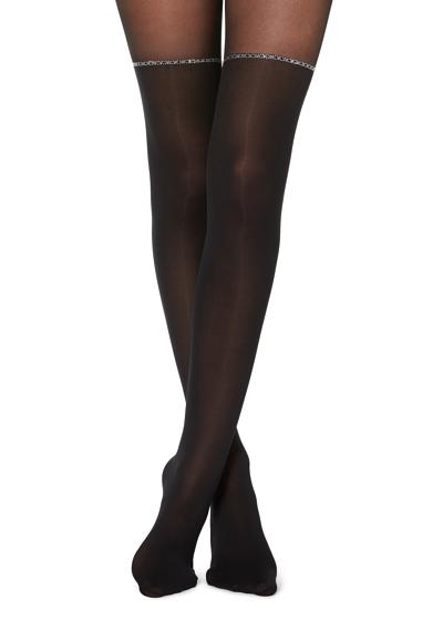 Longuette-Effect Tights with Studs