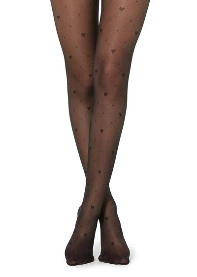 Diamond and heart patterned sheer tights