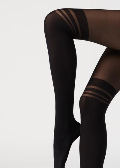 Striped longuette tights