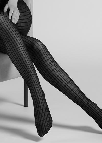 Geometric tulle effect tights