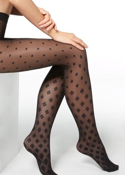 Faded diamond-patterned sheer tights