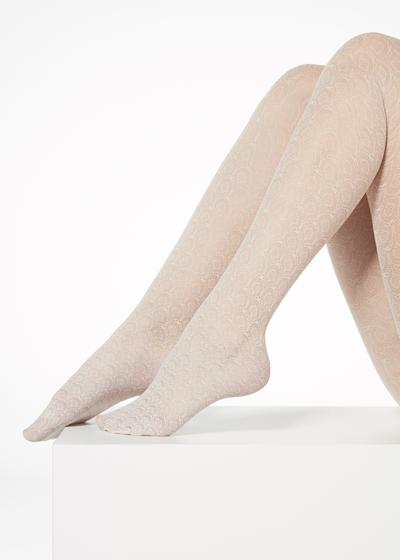 Fan-patterned tulle effect tights