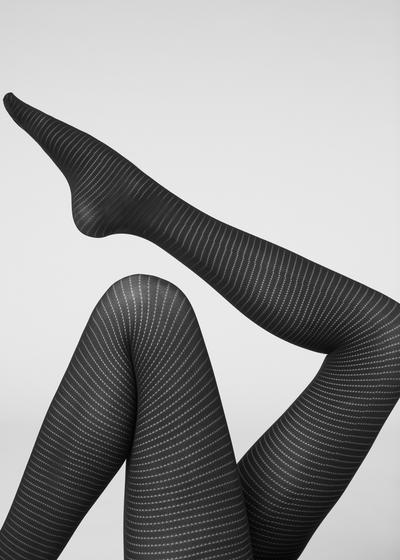 Striped opaque tights