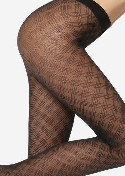 Diamond-patterned tulle effect tights