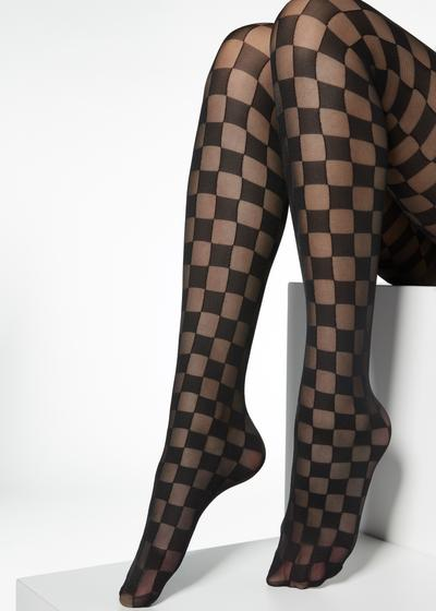 Collants fins motif échecs