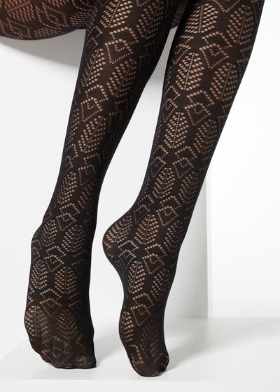 Opaque tights with geometric pattern