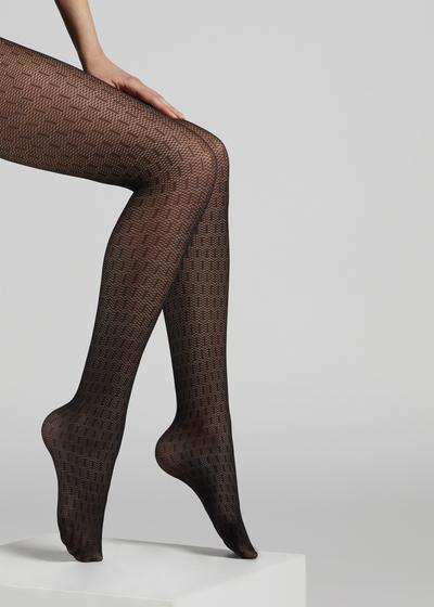 Micronet tights with hatch pattern