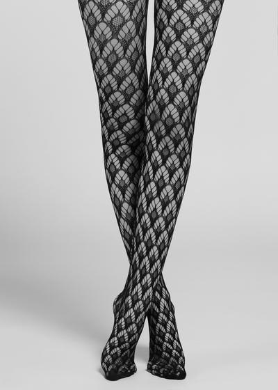 Fan-patterned fishnet tights