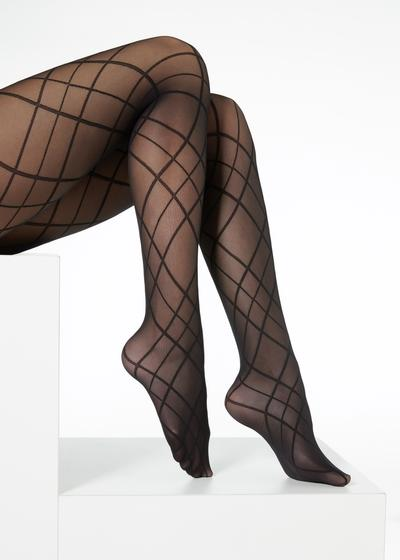 Diamond-patterned sheer tights in matt