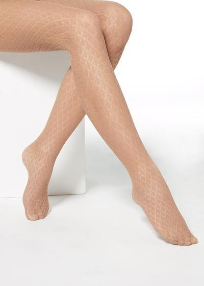 Fishnet tights with geometric pattern