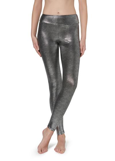 Metallic-Leggings im Animalprint